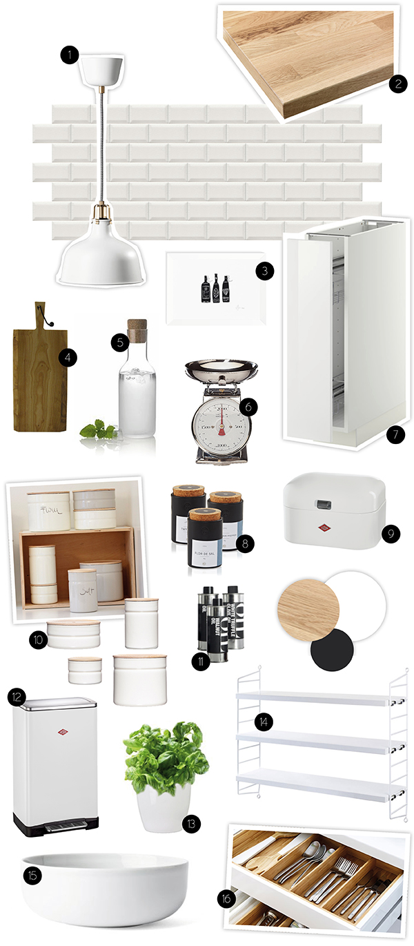 moodboard kueche kitchen weiss schwarz grau holz wood 1. Black Bedroom Furniture Sets. Home Design Ideas
